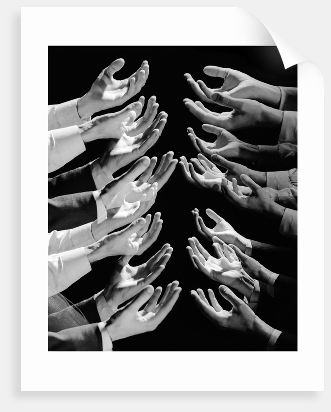 1960s Multiple Exposure Montage Male Hands Begging For A Hand Out by Corbis