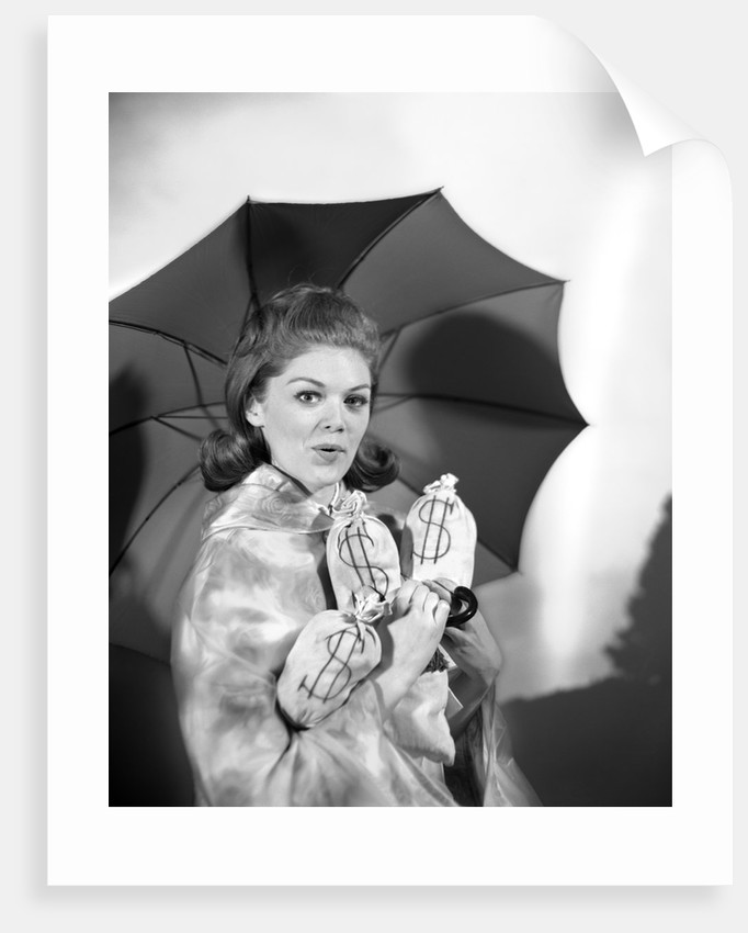 1960s Woman With Umbrella Holding Bags Of Money Save Your Money For