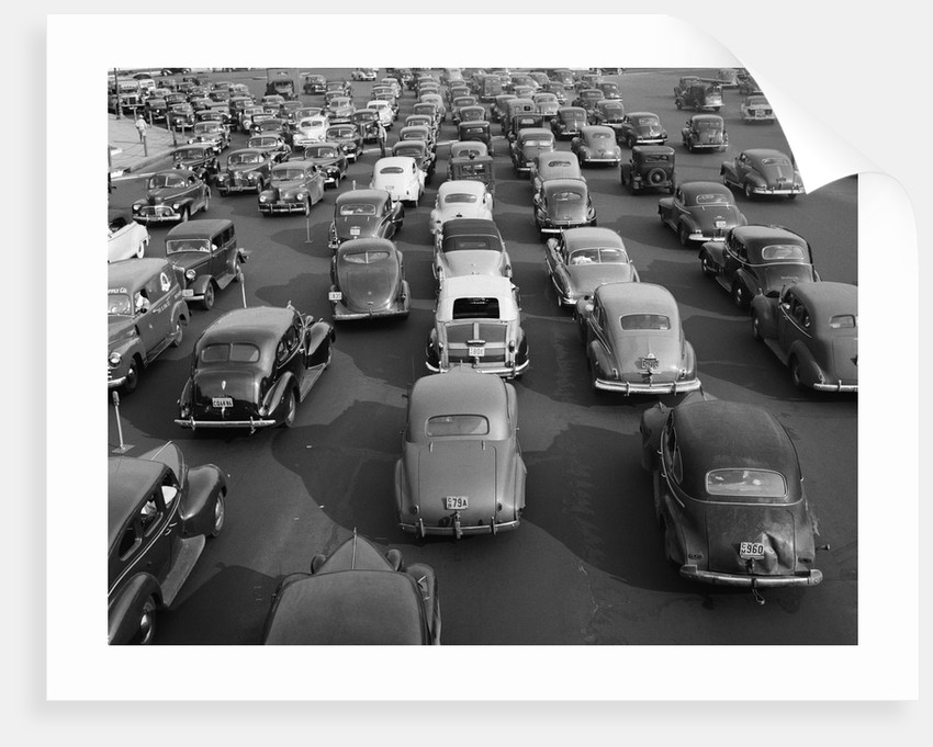 1940s 1948 View Of Traffic Jam On Multi Lane Highway Bridge Approach Crawling In Both Directions by Corbis