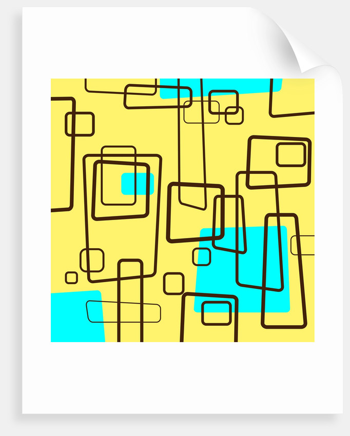 Retro Square Pattern Blue and Yellow by Corbis