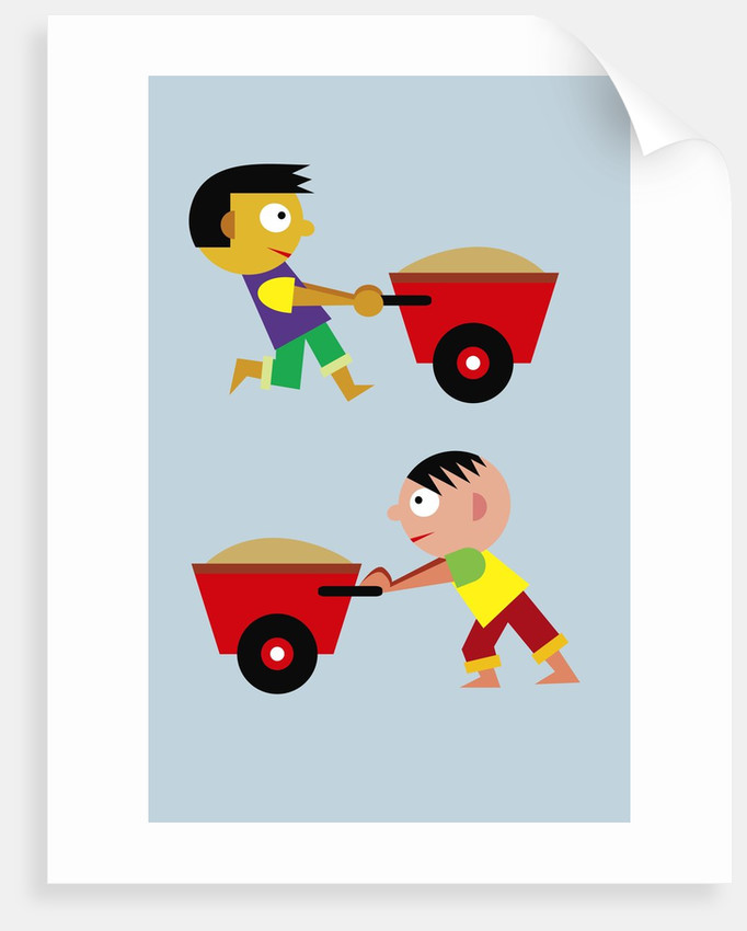 boys with wheelbarrows by Corbis