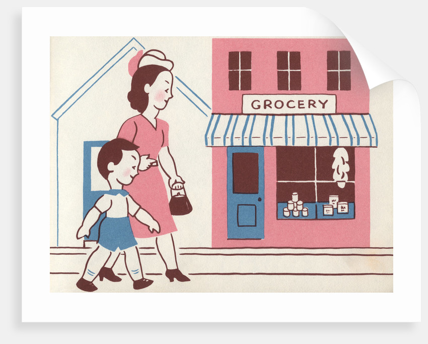 Illustration of Mother and Son Walking by Grocery Store by Lois Lenski