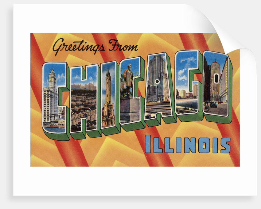 Greetings from Chicago Illinois Postcard by Corbis