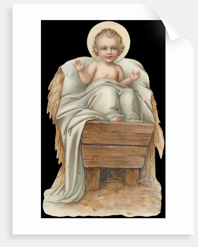 Die-Cut Scrap of Baby Jesus in Manger by Corbis