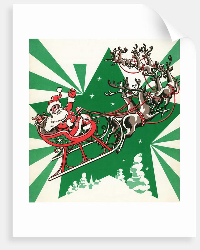 Illustration of Santa's Sled Pulled by Reindeer
