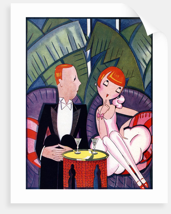 Illustration of 1920s Couple on Date by Fish by Corbis