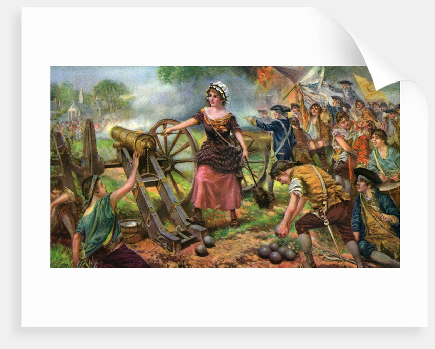 illustration of molly pitcher lighting cannon at battle of monmouth