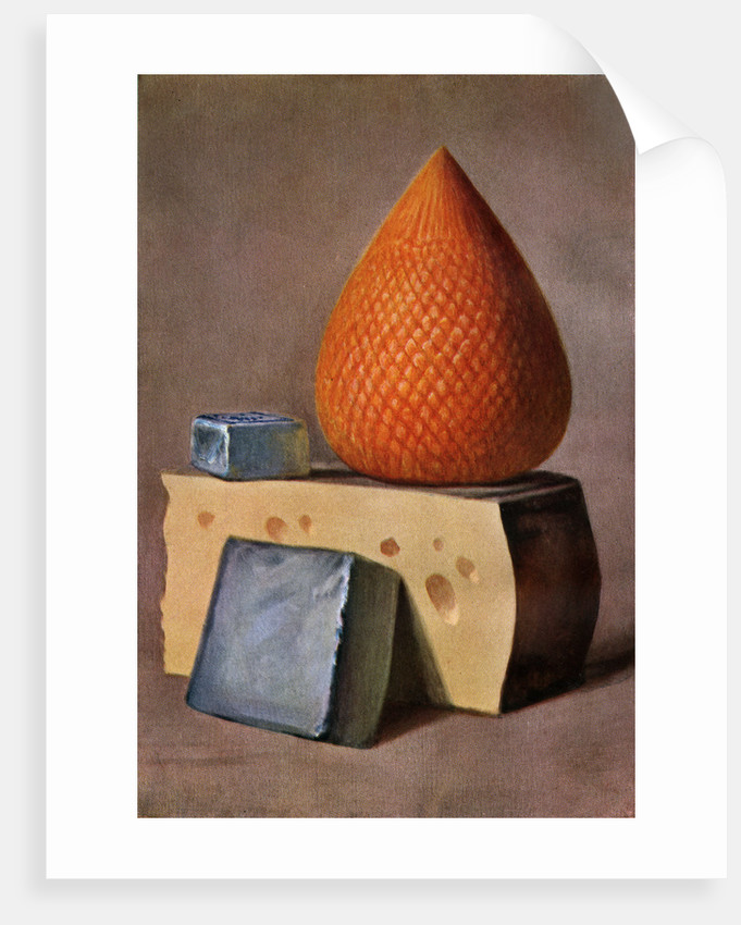 Illustration of four types of cheese by Corbis