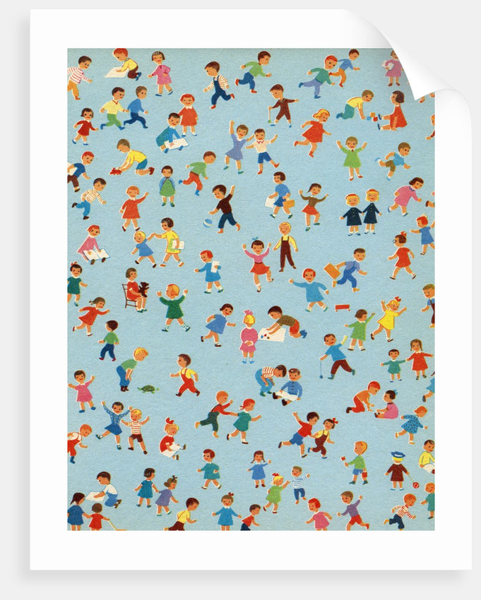 Background illustration of children playing by Corbis