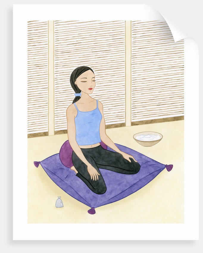 Woman Meditating on Blue Pillow by Corbis
