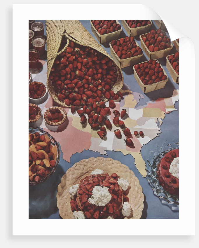 Strawberries and United States map by Corbis