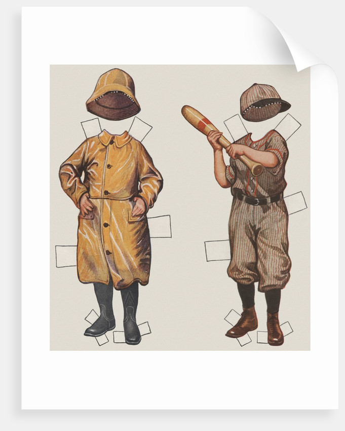 Paper doll boy with baseball uniform and rain slicker by Corbis
