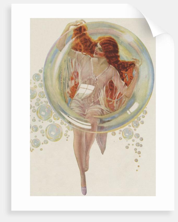 Beautiful redhead in bubble by Corbis