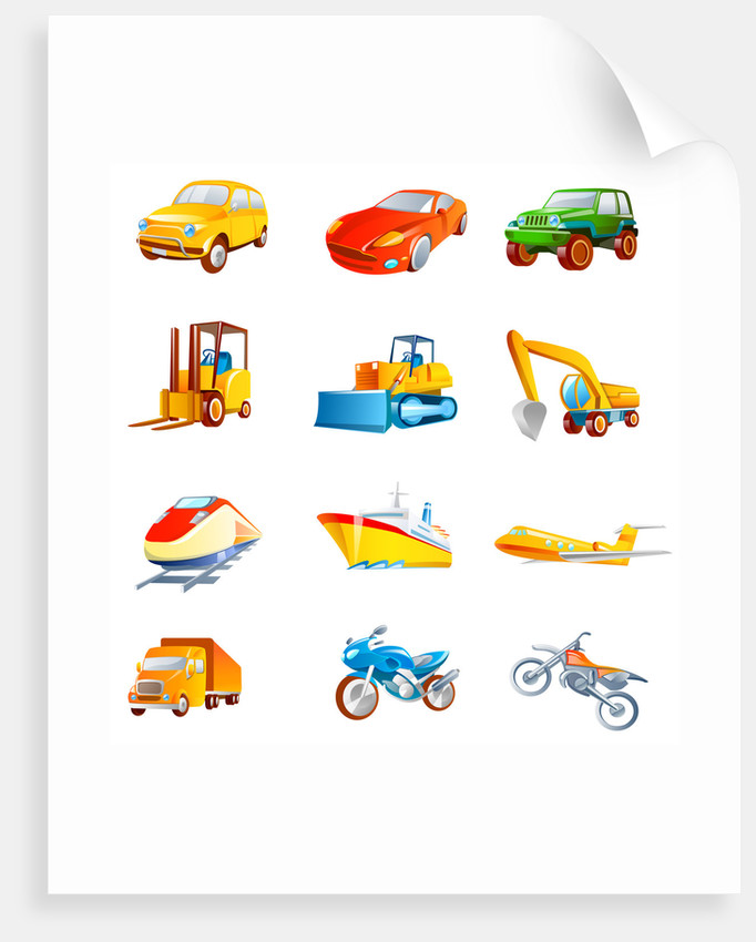 Different types of land vehicles by Corbis