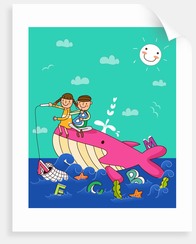 Boy with a girl sitting on a whale and fishing in the sea by Corbis
