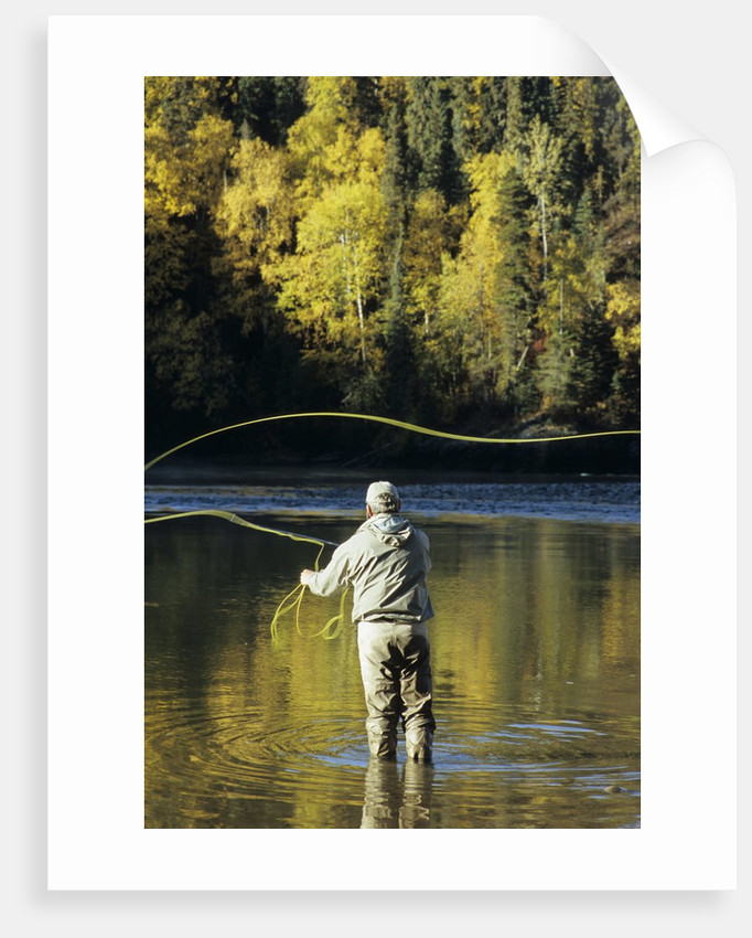 Flyfisherman and Fall Reflections, Bulkley River,Smithers, British Columbia, Canada. by Corbis