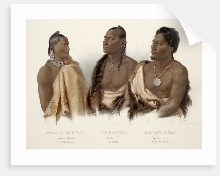 Missouri Indian, Oto Indian, Chief of the Puncas by Karl Bodmer