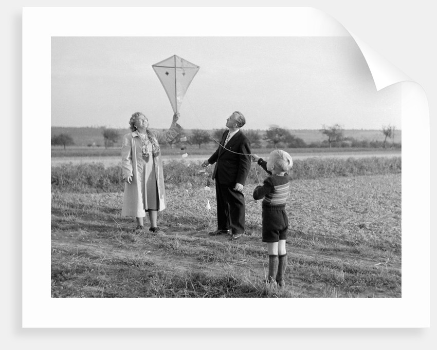 Five year old boy with mother and father fly a kite, ca. 1951 by Corbis