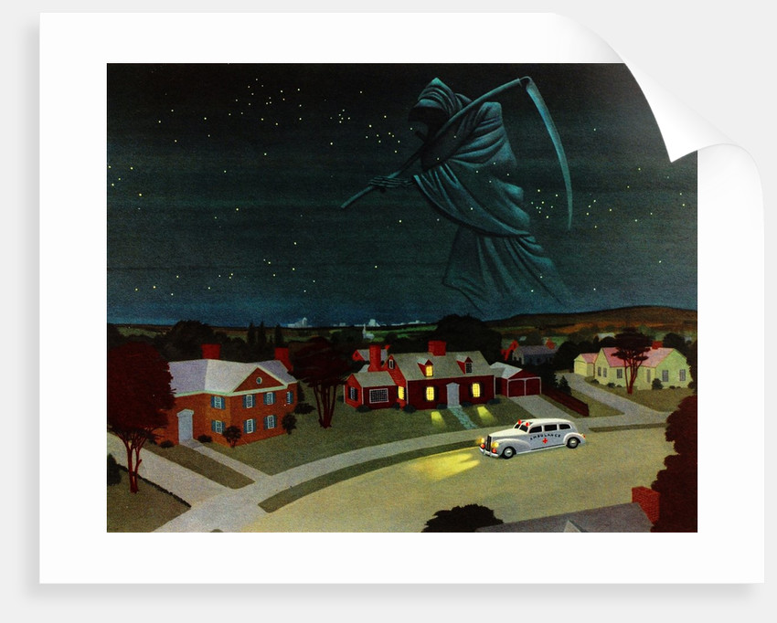 Death looming over suburban house by Corbis