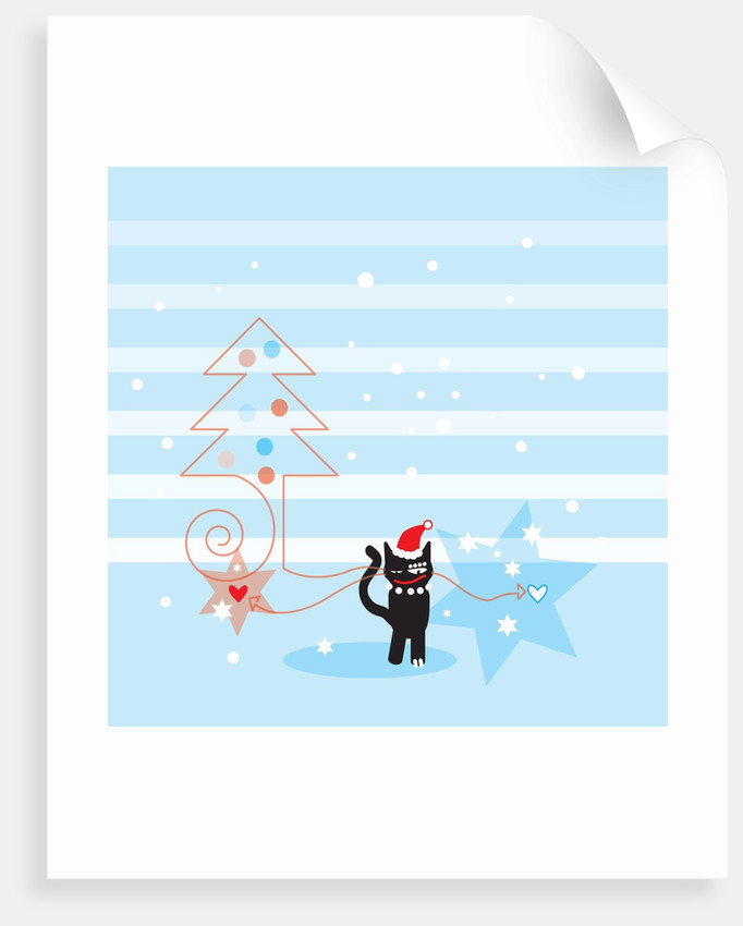 A black cat wearing a Santa hat next to a Christmas tree and stars by Corbis