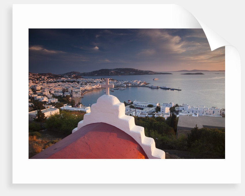 Chapel overlooking the harbor on Greek Island of Mykonos by Corbis