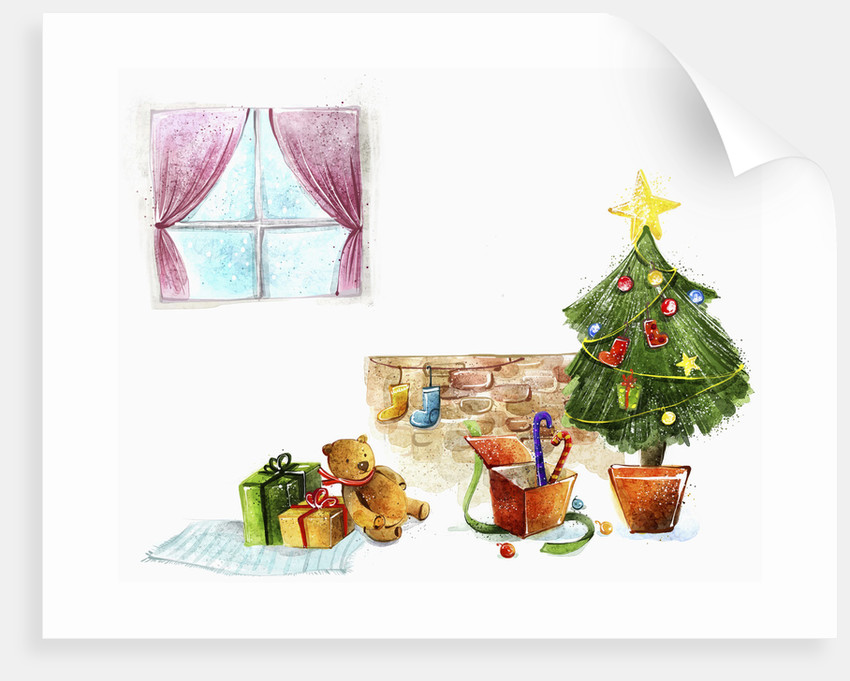 Christmas tree and present in room by Corbis