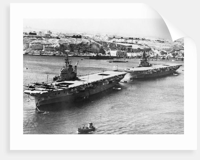 British Light Fleet Carrier Vengeance and sister ship in the Mediterranean by Corbis
