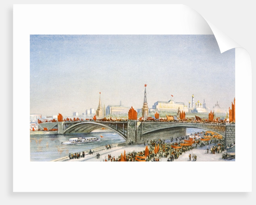 Postcard of a May-Day parade on the banks of the Moskva River in Moscow, USSR by Corbis