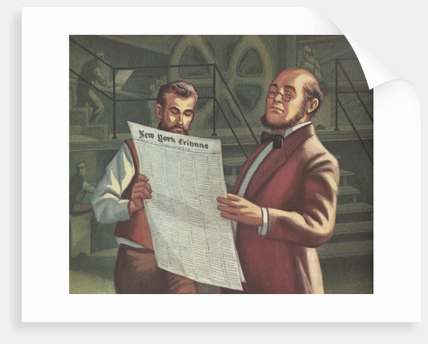 Men inspecting New York Tribune newspaper at printing plant by Corbis