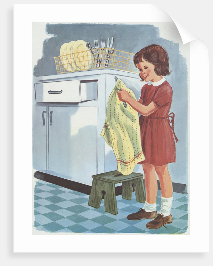 Girl drying cutlery by Corbis