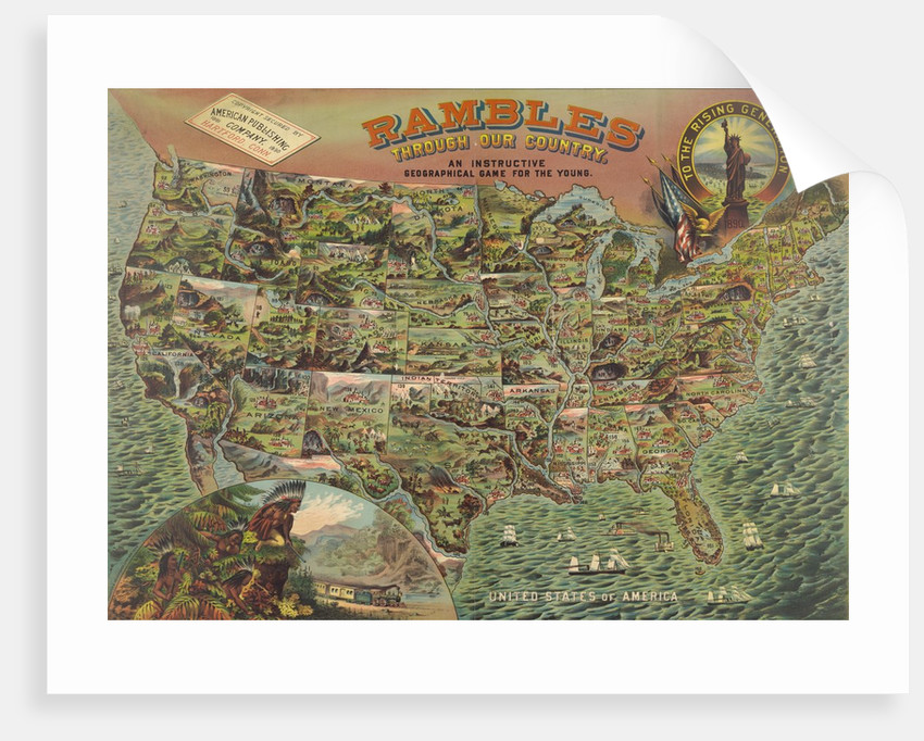 children s game board with map of america posters prints by corbis