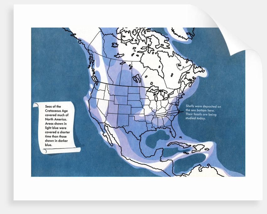 Illustration of North American landmass covered by seas during the Cretaceous Period. by Corbis