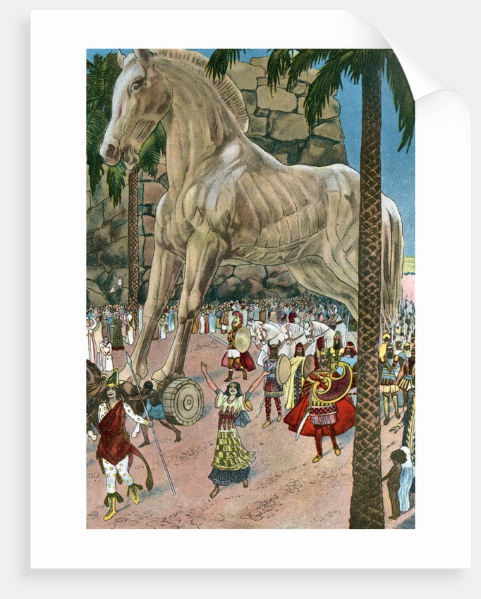 The Trojan Horse entering Troy during the Trojan War by Corbis