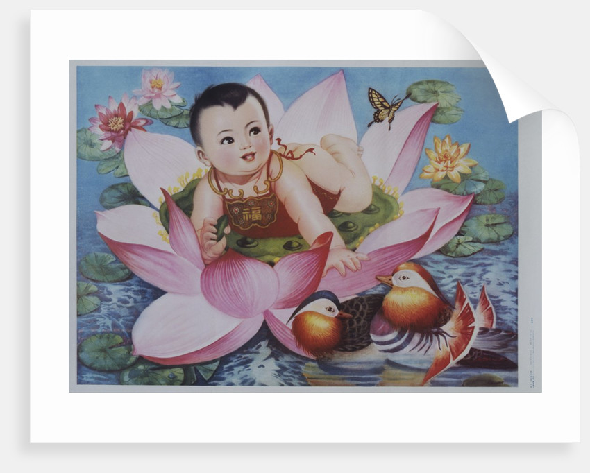 Chinese New Years Poster With Baby In Lotus Blossom Posters