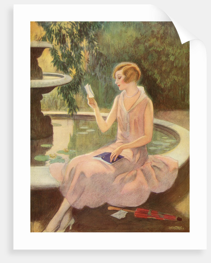 Young woman reading a love letter by a fountain