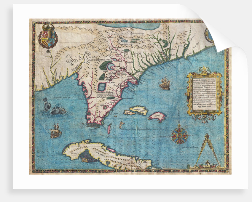 Map Of Florida And Cuba Posters Prints By Jacques Le Moyne