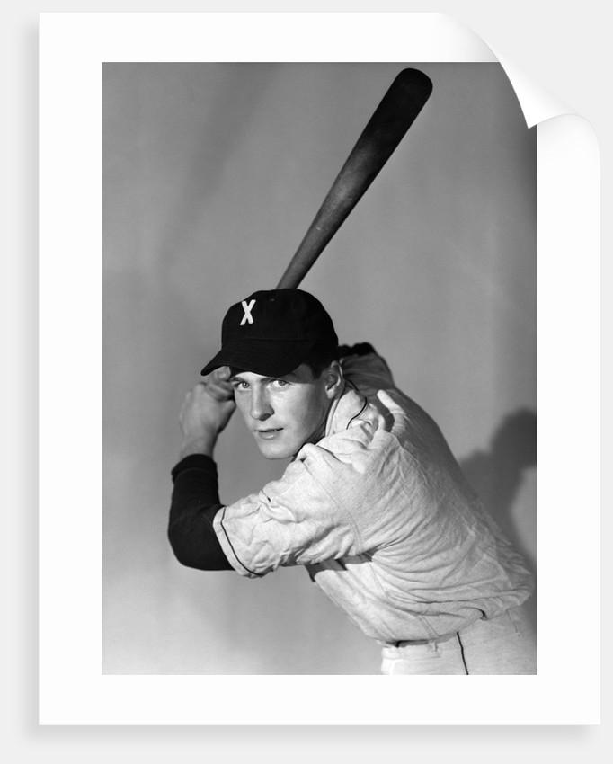 1950s portrait baseball player batting at bat looking at camera by Corbis