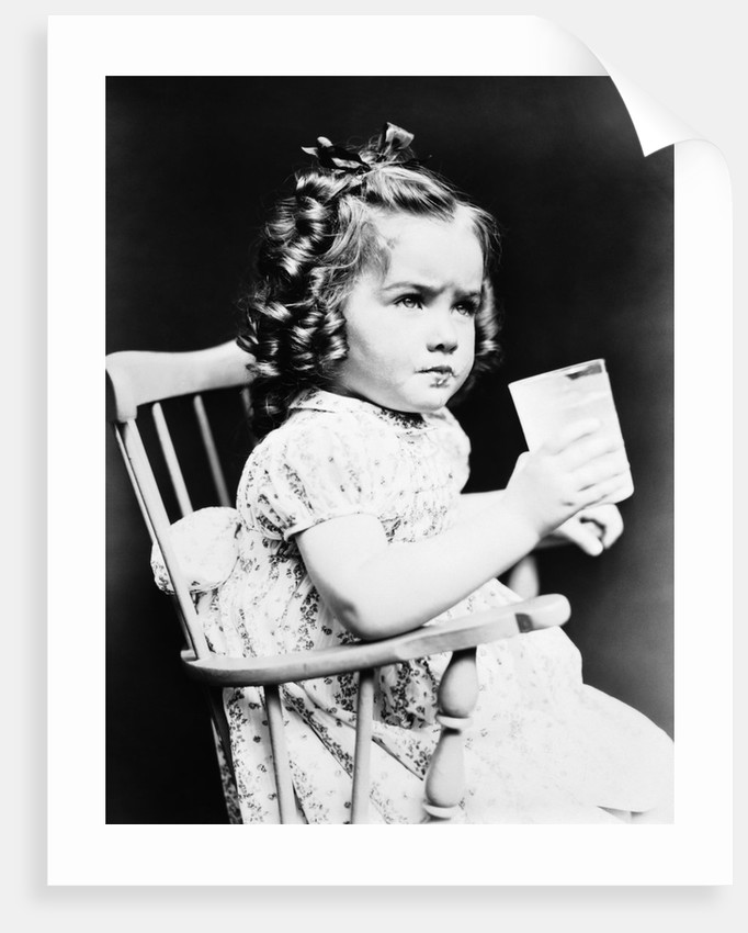 Outstanding 1930S Child Girl Sitting In High Chair Holding Glass Of Milk Serious Look Bow In Hair Baloney Curls Home Interior And Landscaping Ferensignezvosmurscom