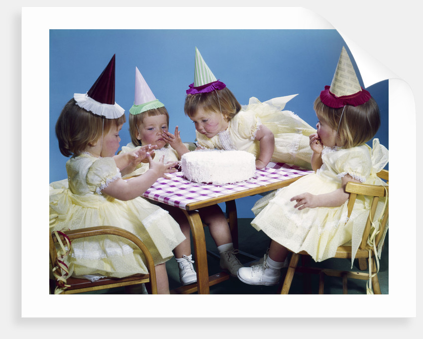 1950s 1960s Quadruplets 4 Red Haired Girls Wearing Party Hats And