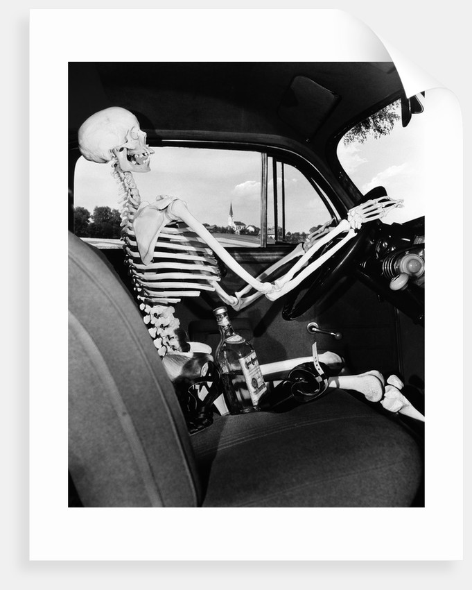 1930s 1940s Still Life Of Skeleton Driving Car With Whiskey Bottle And Woman S Shoes On Seat Beside It