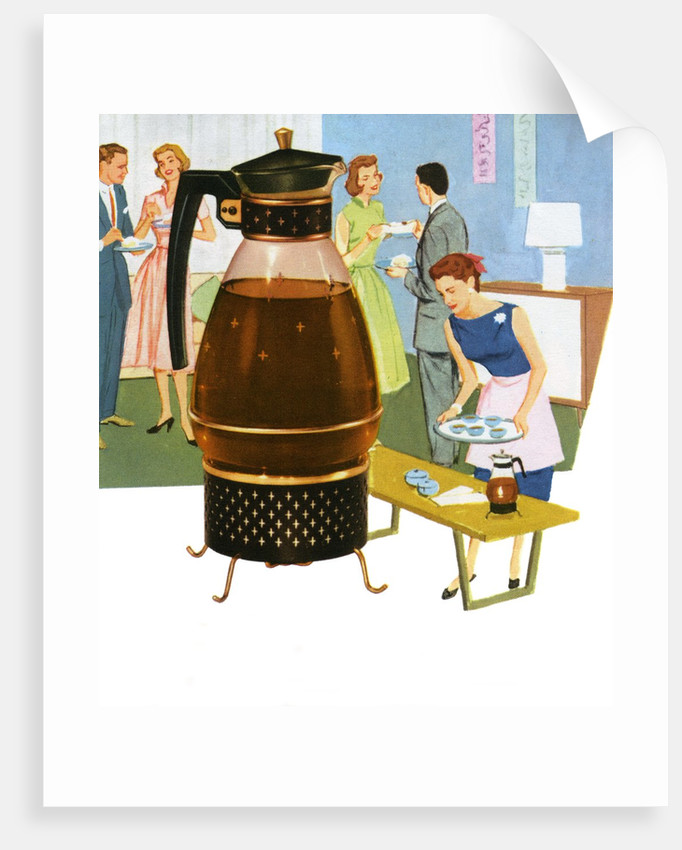 Coffee carafe and housewife serving coffee to guests by Corbis