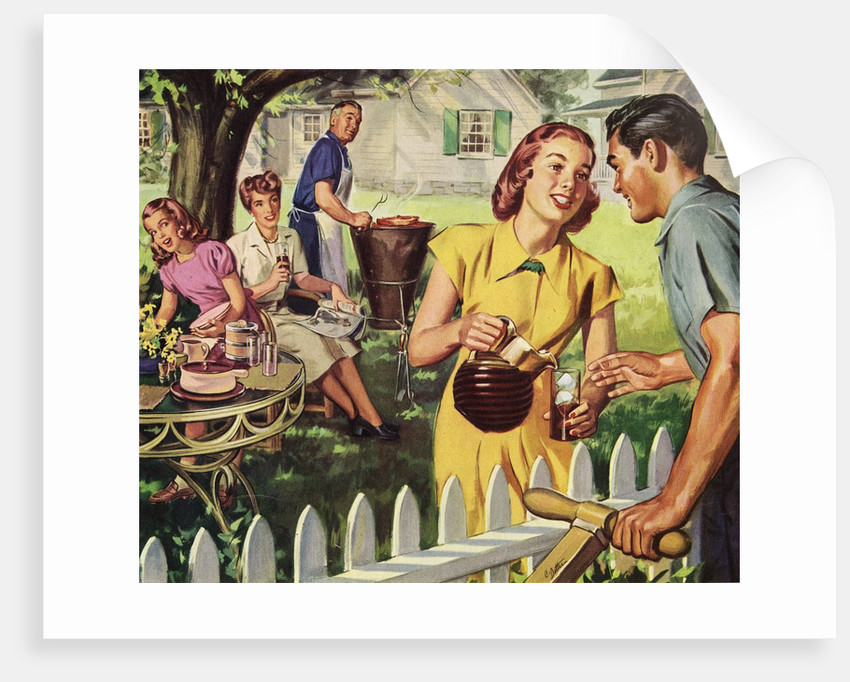 neighbors having a backyard barbeque posters prints by corbis