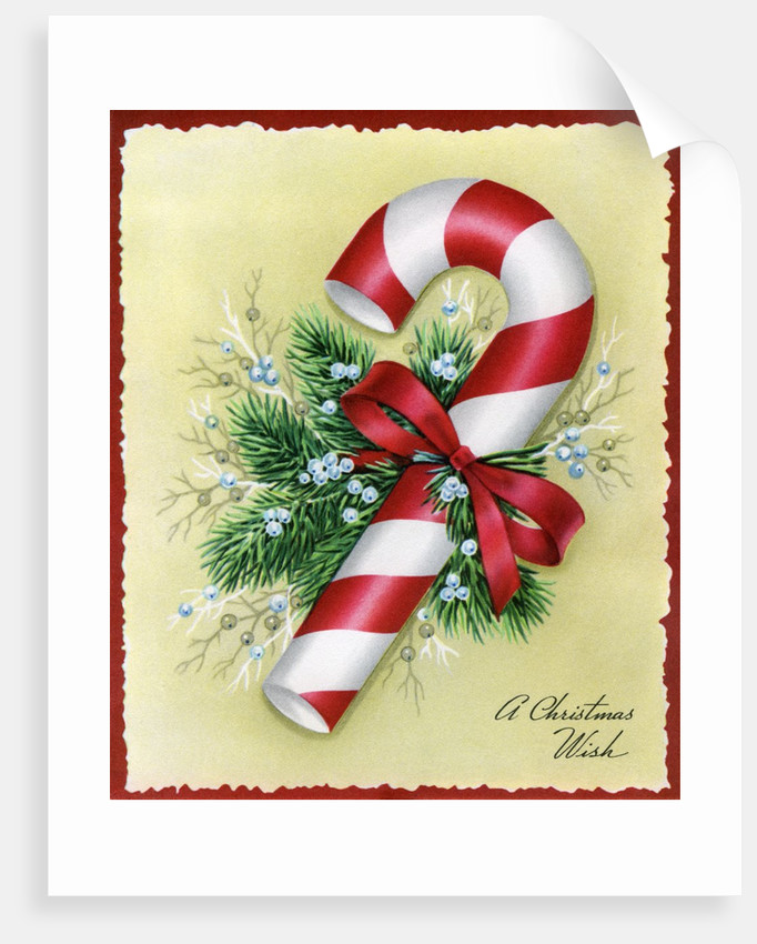 Vintage Illustration of Christmas Candy Cane by Corbis