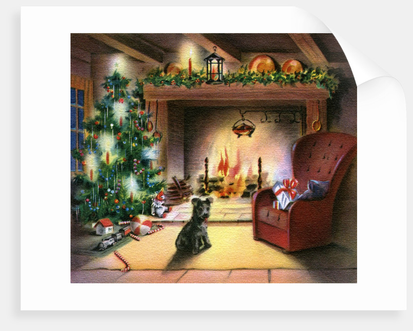 Christmas Tree Illustration.Vintage Illustration Of Christmas Tree By Fireplace