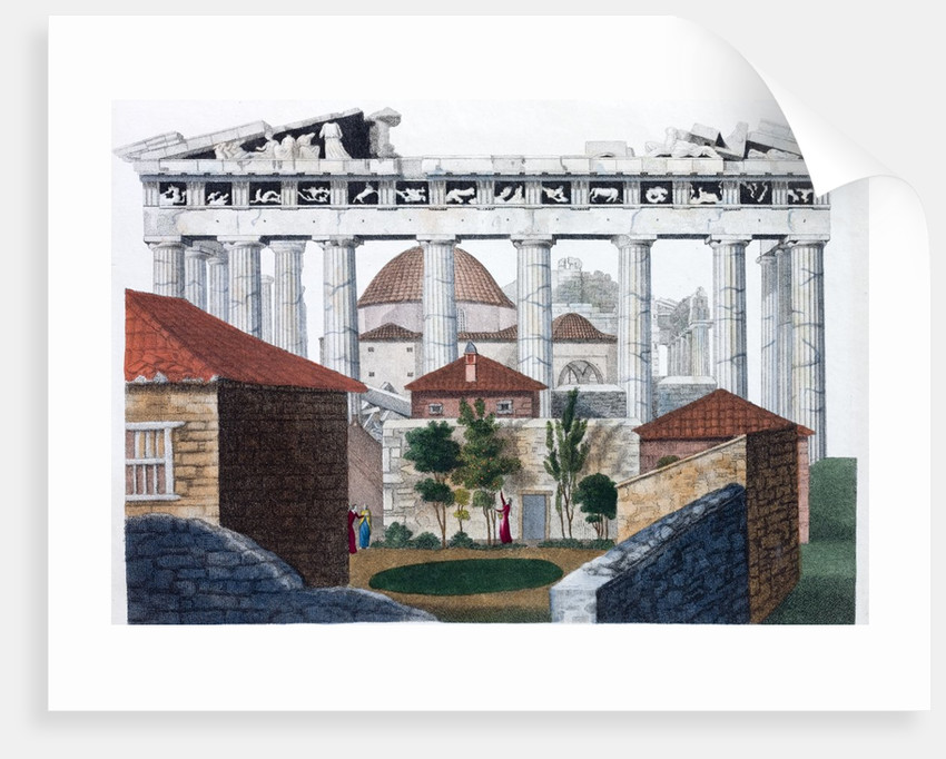 Hand coloured print of the Parthenon in Athens in the days of the Ottoman Empire by Corbis