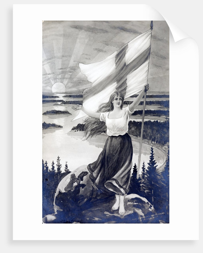Patriotic Finnish maiden holding the raised flag of Finland by Corbis