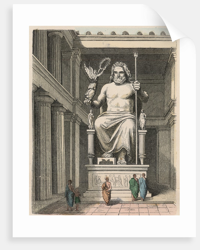 Ancient Greek Zeus statue in the temple at Olympia by Corbis