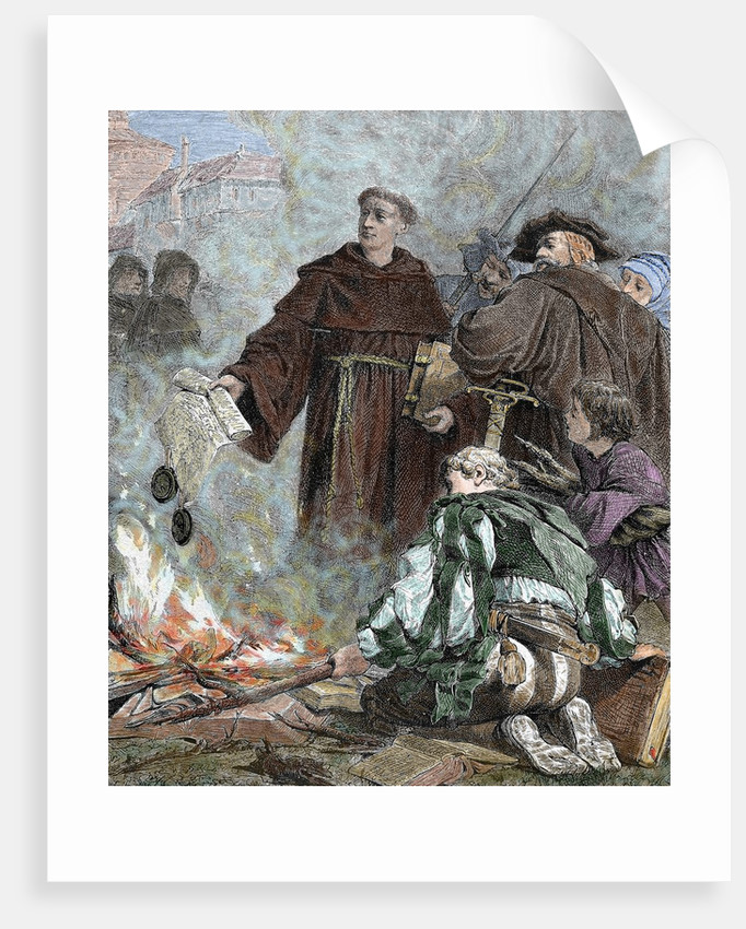 """Martin Luther (1483-1546) burning the papal bull """"Exsurge Domine"""" of Pope Leo X by Corbis"""