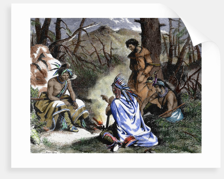 Indians deciding the fate of the prisoner. Engraving by Corbis