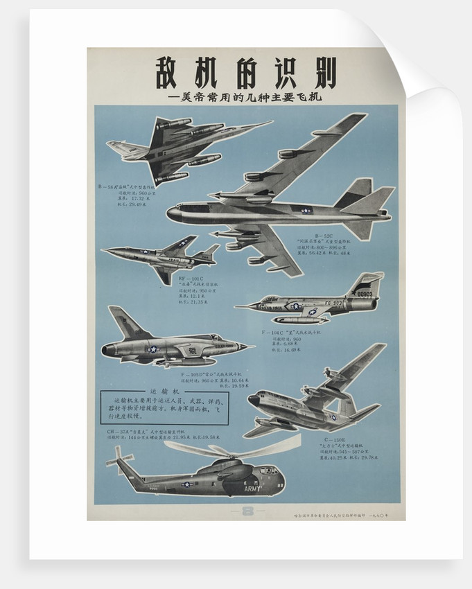 chinese military poster aircraft identification chart us aircraft
